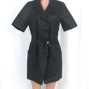 Simply Vera Wang Black Metallic Coat Dress Belted